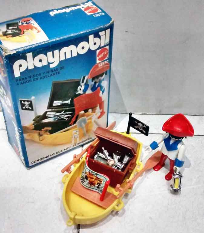 Playmobil 13570-xat - pirate with rowboat and treasure - Back