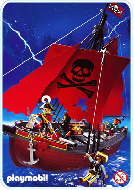 Playmobil 3174v2 - red pirateship - Back