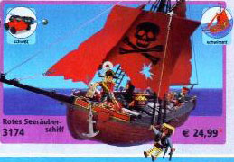 Playmobil 3174v2 - red pirateship - Box