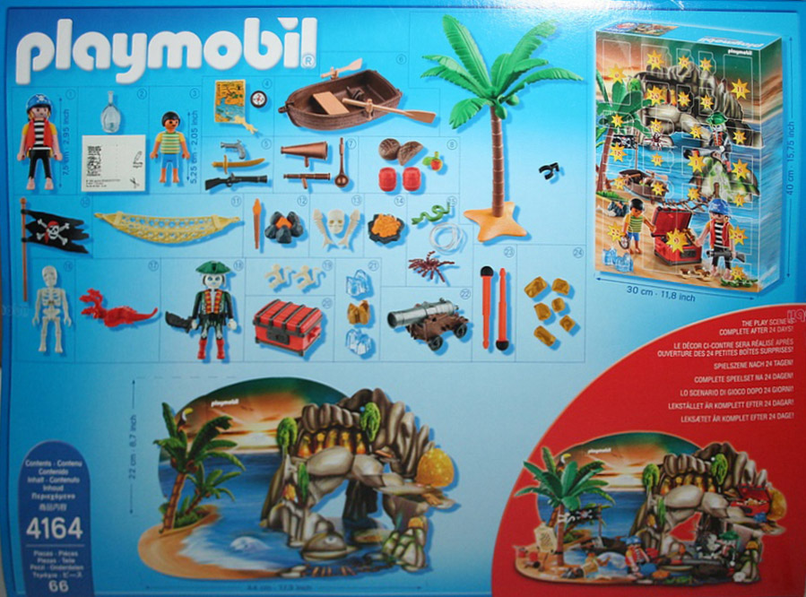 Playmobil 4164v2-usa - eng - advent calendar pirates treasure cave - Back