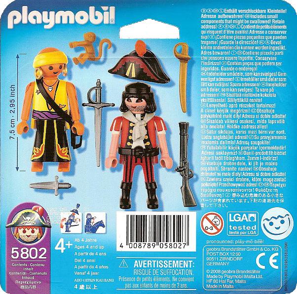 Playmobil 5802-usa - Duo Pack Pirates - Back