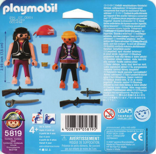 Playmobil 5819-usa - 2 pirates blister - Back