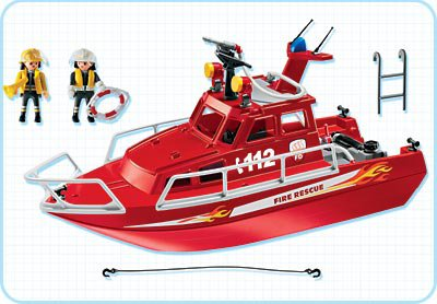 Playmobil 3128s3 - Fire Rescue Boat with Pump - Back