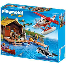 Playmobil 5039 - Fishing cabin with Float Plane and Orca - Box