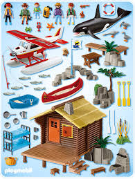 Playmobil 5039 - Fishing cabin with Float Plane and Orca - Back