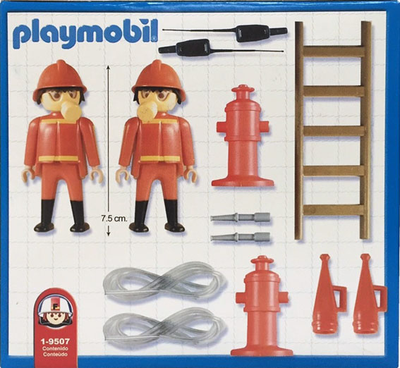 Playmobil 1-9507-ant - 2 firemen - Back
