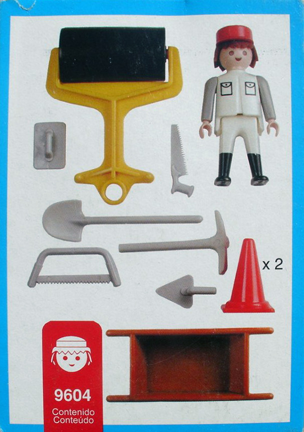 Playmobil 9604-ant - white road worker - Back