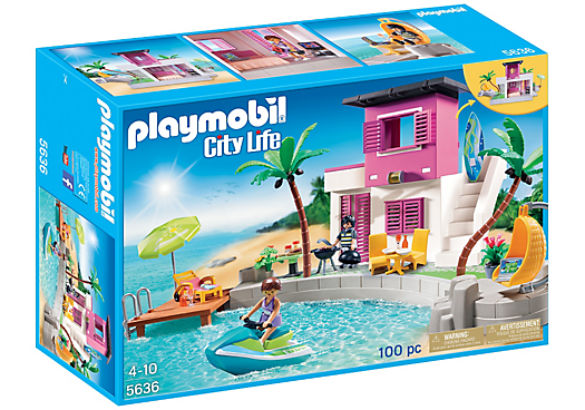 Playmobil set 5636 usa luxury beach house klickypedia for Piscine playmobil