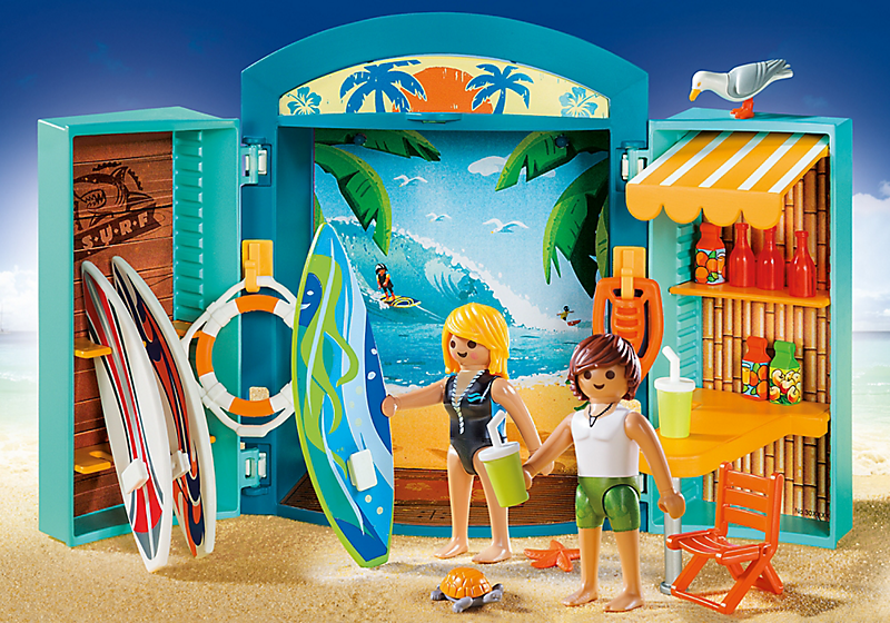 Playmobil set 5641 usa play box surf shop klickypedia for Piscine playmobil