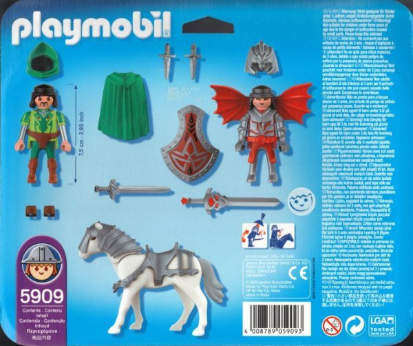 Playmobil 5909 - Dragon knights with horse & sword - Back