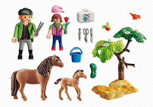 Playmobil 6949 - Country Vet with Pony and Foal - Back