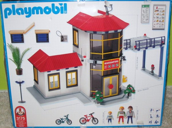 Playmobil 3175s2v2 - Firemen / Fire Station - Back