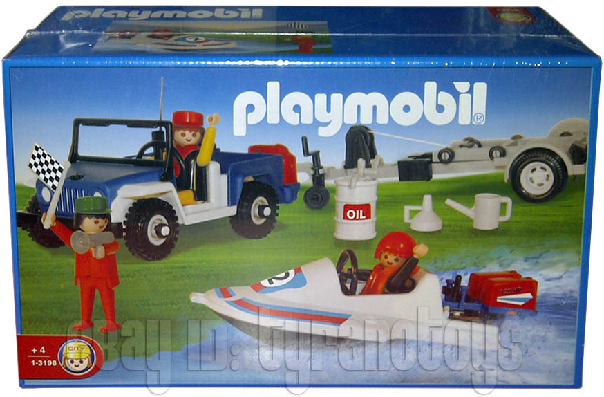 Playmobil 1-3198-ant - Blue Jeep With Speedboat - Box