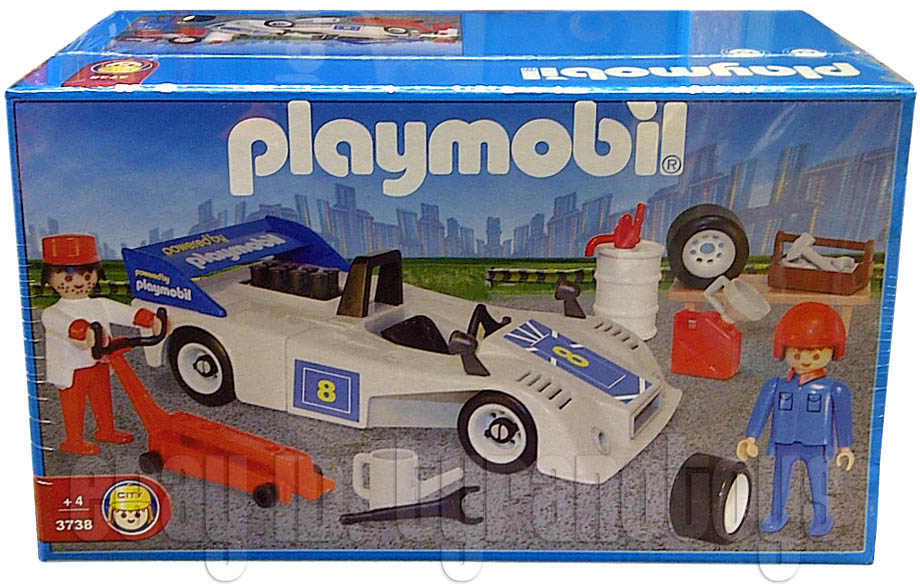 Playmobil 3738-ant - White Race Car With Crew - Box