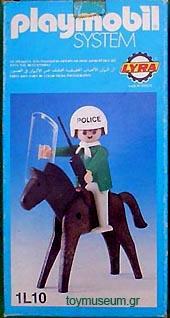 Playmobil 1L10-lyr - Policeman with Horse - Box