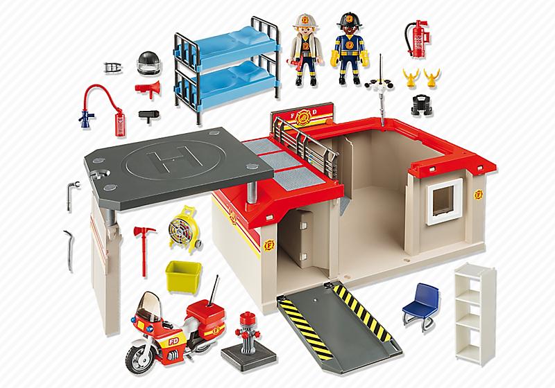 Playmobil 5663 - Take Along Fire Station - Back