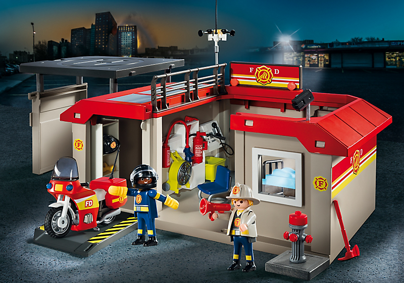 Playmobil set 5663 take along fire station klickypedia - Caserne de police playmobil ...