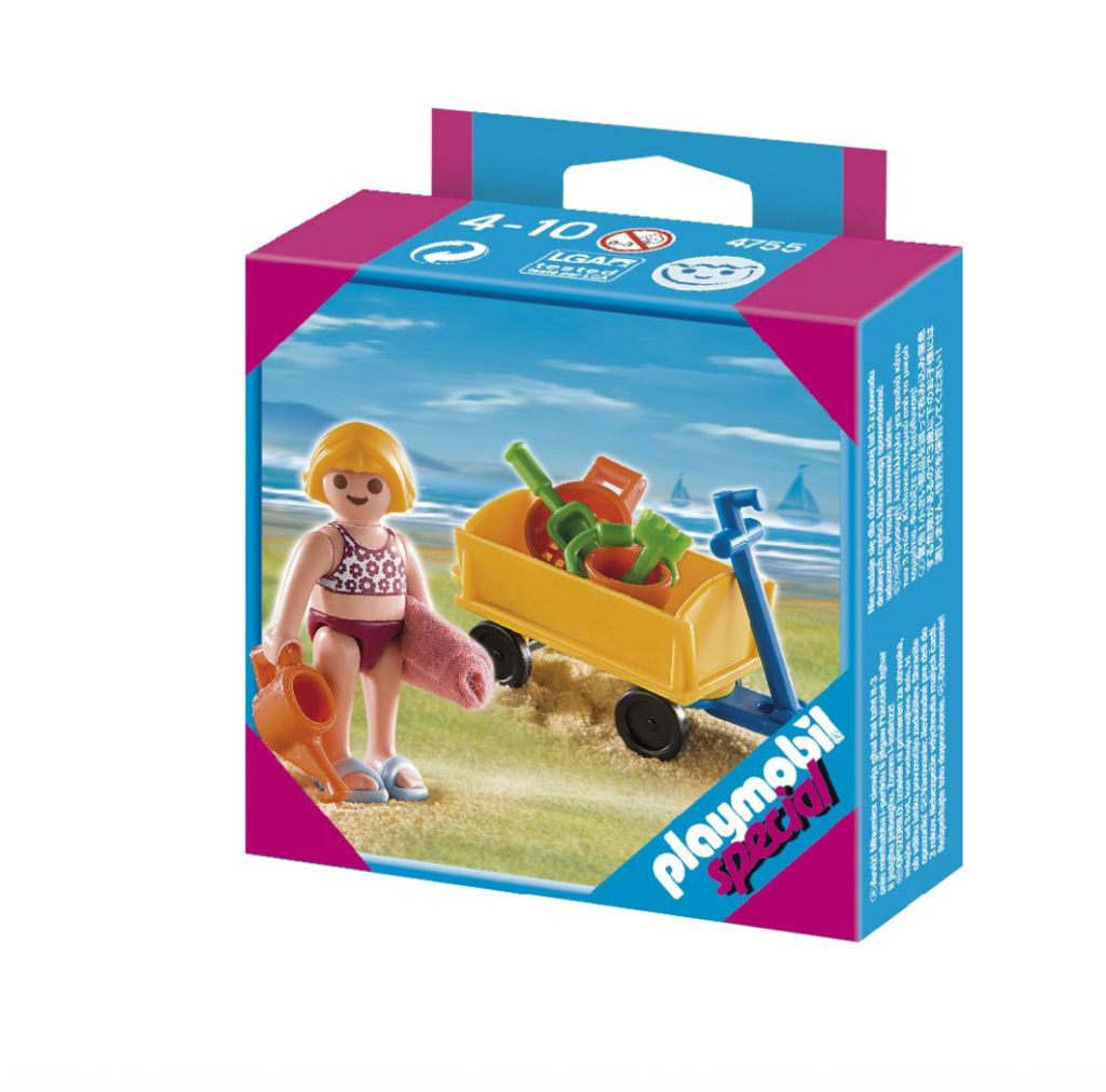Playmobil set 4755 girl with beach wagon klickypedia for Piscine playmobil