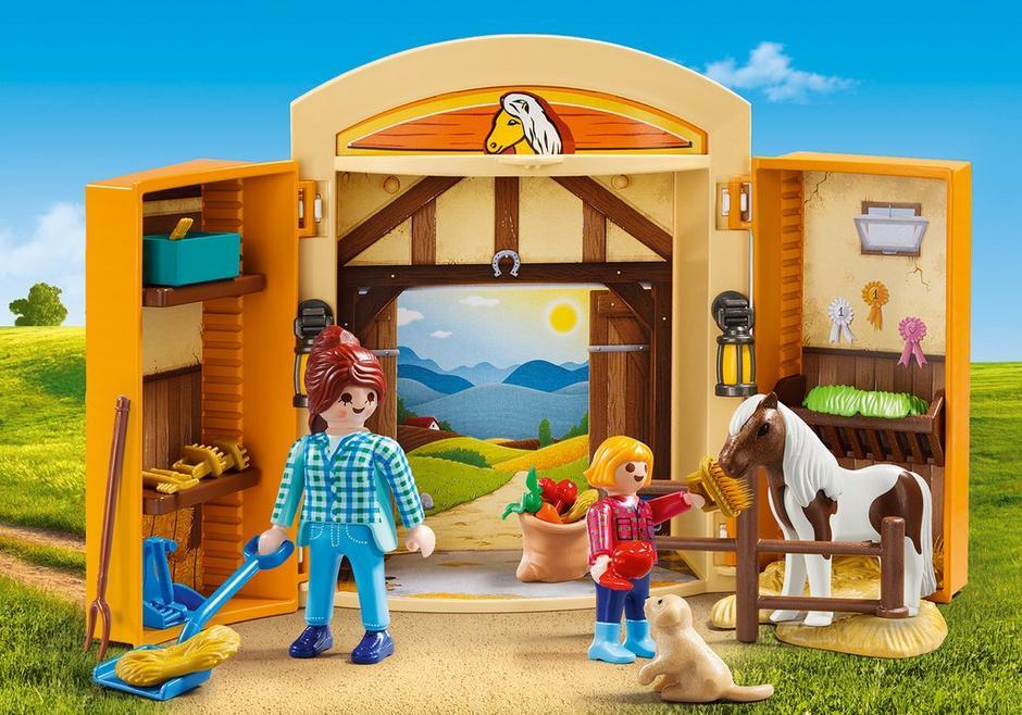 Playmobil set 5660 usa play box horses klickypedia for Playmobil pferde set