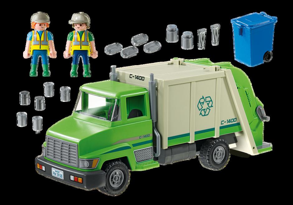 Playmobil 5679-usa - Green Recycling Truck - Back