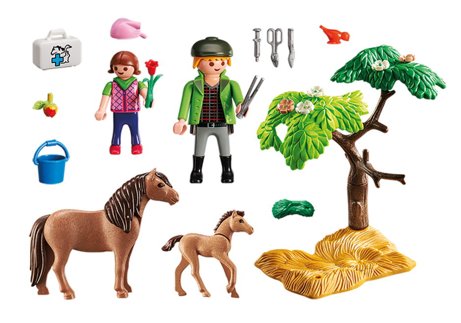 Playmobil 5687-usa - Vet with Pony and Foal - Back