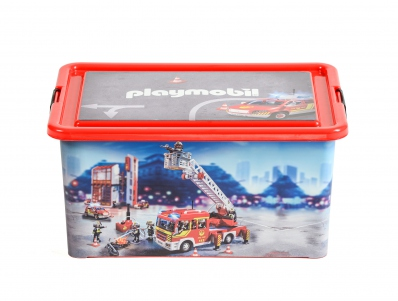 Playmobil 00000 - 23L Storage Box + Compartment Case - Firefighters - Boîte