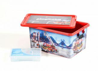 Playmobil - 00000 - Caja de almacenamiento 23L + estuche compartimentado - Bomberos