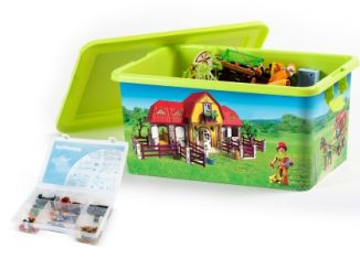 Playmobil - 00000 - 23L Storage Box + Compartment Case - Horse stable