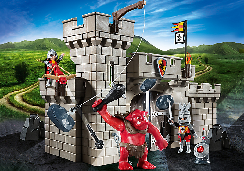 Playmobil set 5670 gre castle gate with red troll for Plan chateau fort playmobil