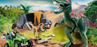 Playmobil - 9231 - T-Rex with calf and explorer on quad