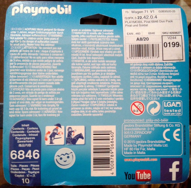 Playmobil 6846 - Pirate and Soldier Duo Pack - Back