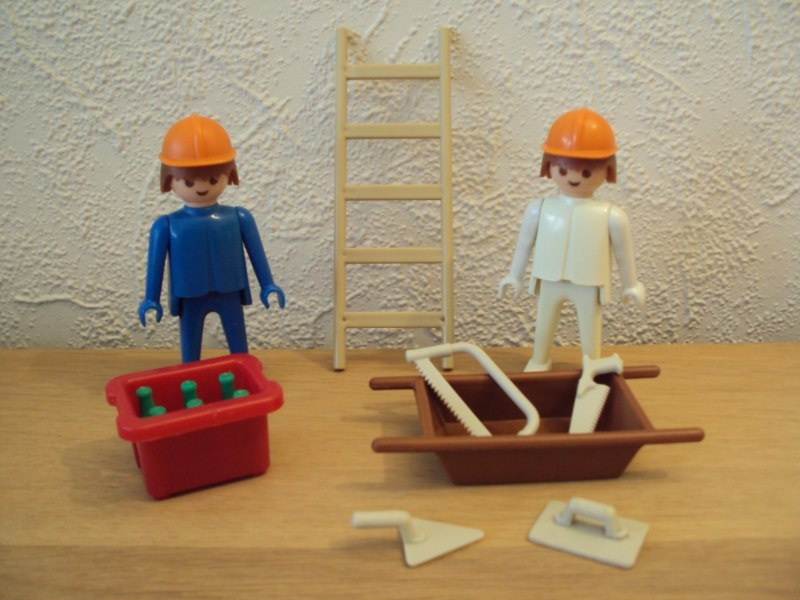 Playmobil 3160 - 2 Construction Workers - Back