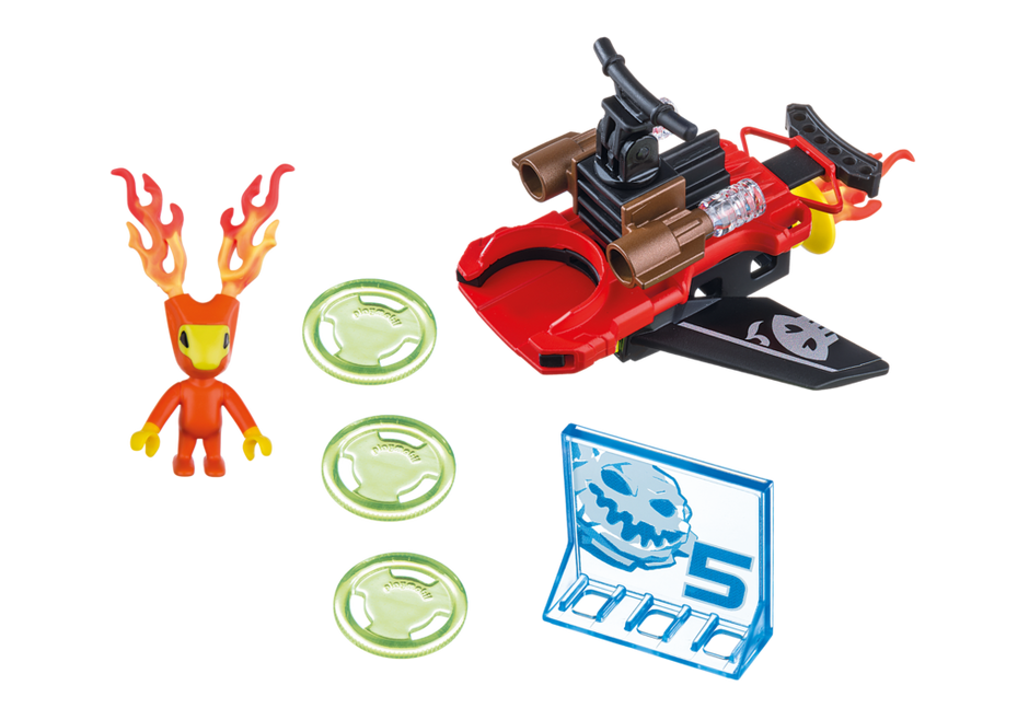 Playmobil 6834 - Fire alien with spacecraft - Back
