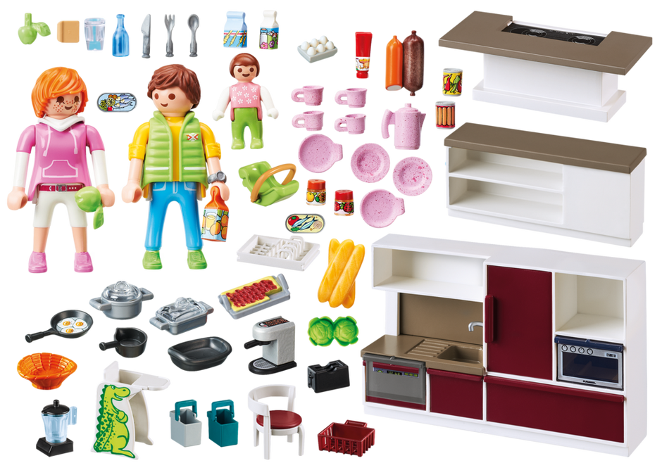 Playmobil set 9269 large family kitchen klickypedia for Kinderzimmer playmobil