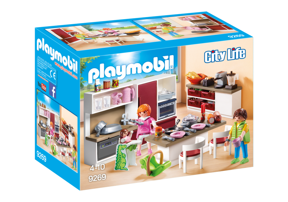 Playmobil set 9269 large family kitchen klickypedia for Cuisine playmobil