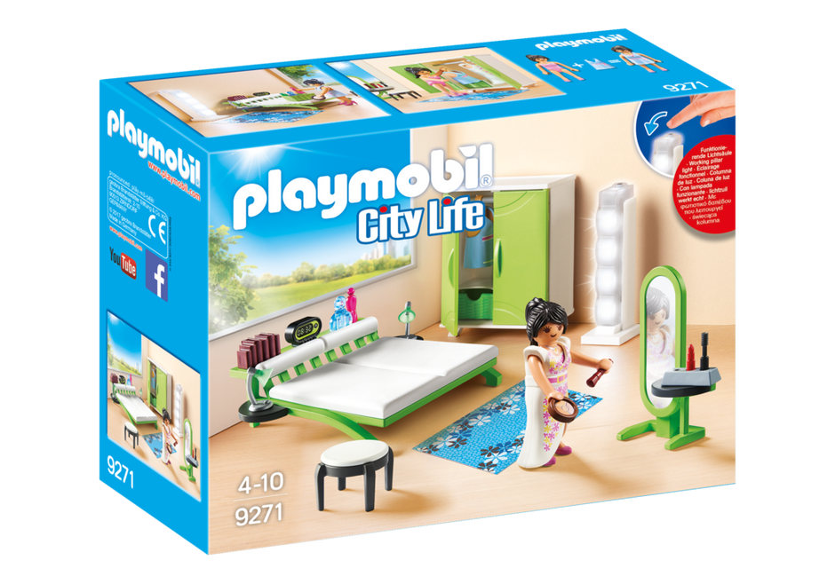 Playmobil set 9271 bedroom klickypedia for Maison moderne playmobil
