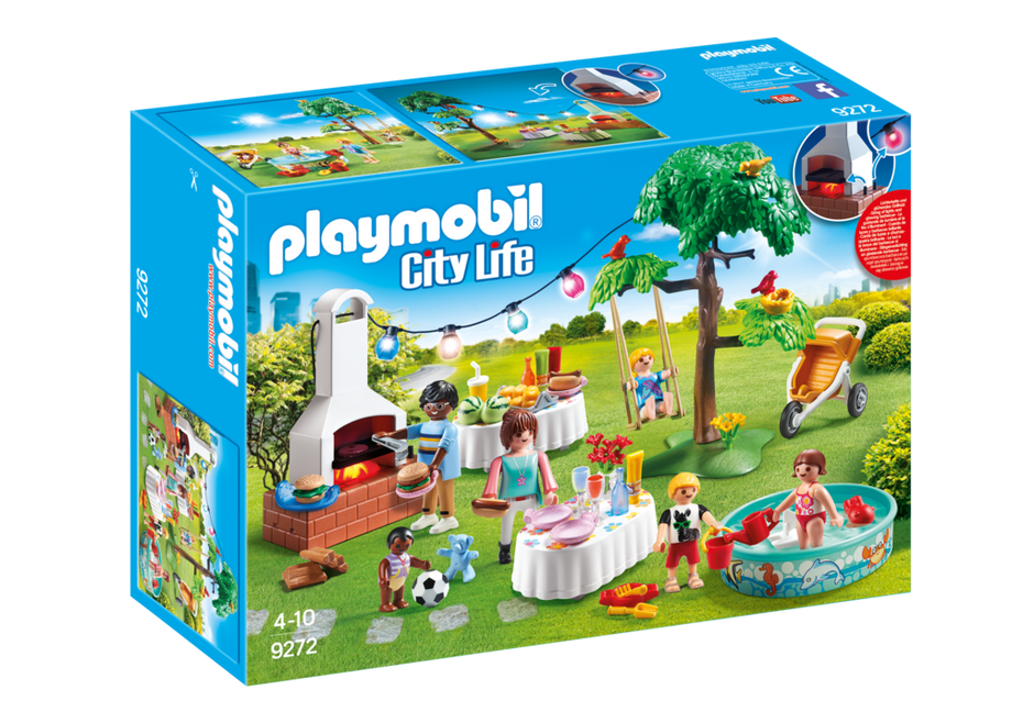 Playmobil set 9272 party in the garden with barbecue for Playmobil pferde set