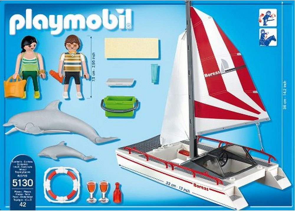 Playmobil 5130 - Catamaran Sailboat with Dolphins - Back