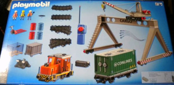Playmobil 4085 - Cargo train with portal crane - Back