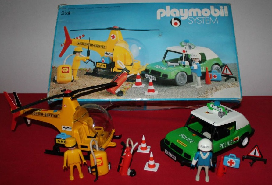 Playmobil 3158s1v2 - Helicopter Service + Police car - Back