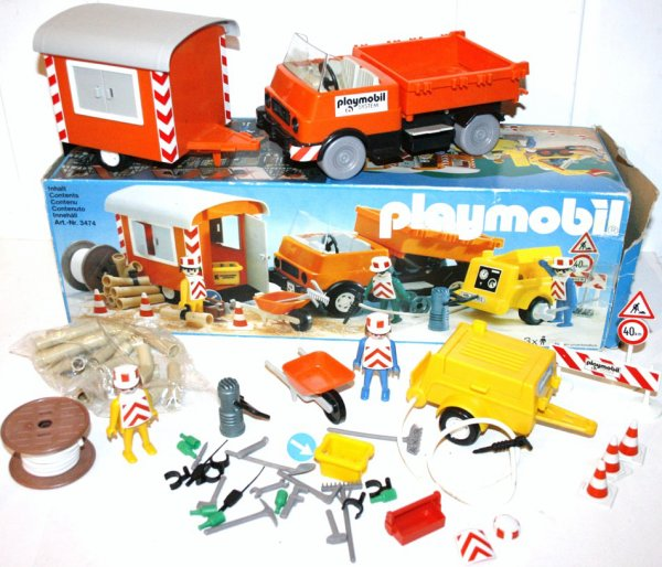 Playmobil 3474v1 - Road Workers with Truck and Trailer - Back