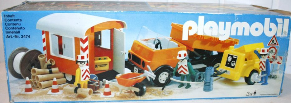 Playmobil 3474v1 - Road Workers with Truck and Trailer - Box