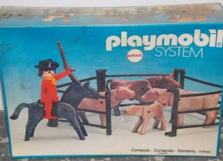 Playmobil - 3753v1-ant - Cowboy & enclosure of cattle