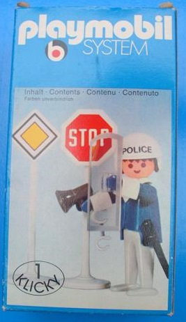 Playmobil 3324v2 - Policeman / 2 road signs - Box