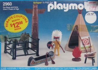Playmobil - 2960-sch - Indian, horse, totem , canoe and tepee