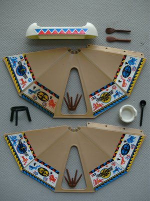 Playmobil 3252s1v2 - Tent / Canoe / Cooking Pots - Back