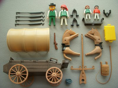 Playmobil 3278v1 - Settlers & covered wagon - Back
