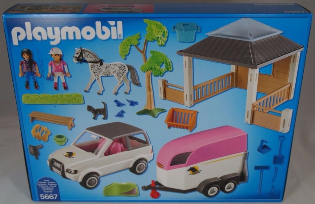 Playmobil 5667v2 - Horse stable with trailer - Back