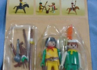 Playmobil - 1732v2-pla - Yellow cowboy & green Indian