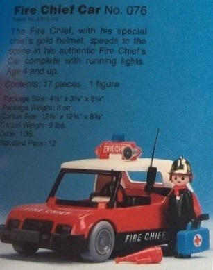 Playmobil 076-sch - Fire Chief Car Set - Box
